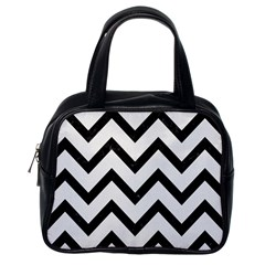 Chevron9 Black Marble & White Linen Classic Handbags (one Side)