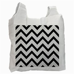 Chevron9 Black Marble & White Linen Recycle Bag (one Side)