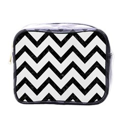 Chevron9 Black Marble & White Linen Mini Toiletries Bags