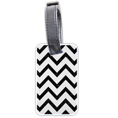 Chevron9 Black Marble & White Linen Luggage Tags (two Sides)