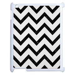 Chevron9 Black Marble & White Linen Apple Ipad 2 Case (white)