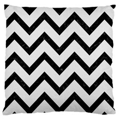 Chevron9 Black Marble & White Linen Large Cushion Case (one Side)