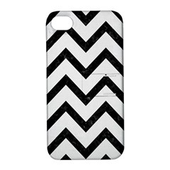 Chevron9 Black Marble & White Linen Apple Iphone 4/4s Hardshell Case With Stand