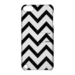 Chevron9 Black Marble & White Linen Apple Ipod Touch 5 Hardshell Case With Stand