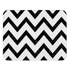 Chevron9 Black Marble & White Linen Double Sided Flano Blanket (large)