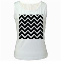 Chevron9 Black Marble & White Linen (r) Women s White Tank Top