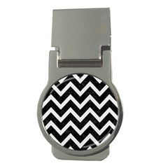 Chevron9 Black Marble & White Linen (r) Money Clips (round)