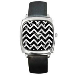 Chevron9 Black Marble & White Linen (r) Square Metal Watch