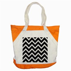 Chevron9 Black Marble & White Linen (r) Accent Tote Bag