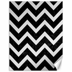 Chevron9 Black Marble & White Linen (r) Canvas 12  X 16