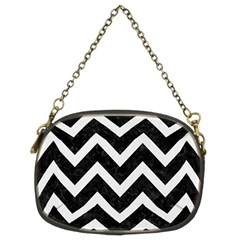 Chevron9 Black Marble & White Linen (r) Chain Purses (two Sides)