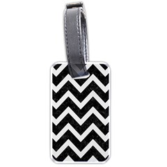 Chevron9 Black Marble & White Linen (r) Luggage Tags (two Sides)