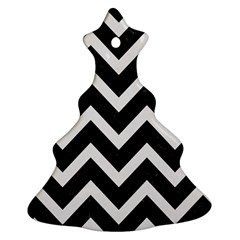 Chevron9 Black Marble & White Linen (r) Christmas Tree Ornament (two Sides)