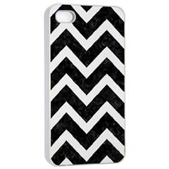 Chevron9 Black Marble & White Linen (r) Apple Iphone 4/4s Seamless Case (white)