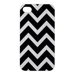 Chevron9 Black Marble & White Linen (r) Apple Iphone 4/4s Hardshell Case