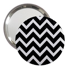 Chevron9 Black Marble & White Linen (r) 3  Handbag Mirrors
