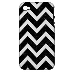 Chevron9 Black Marble & White Linen (r) Apple Iphone 4/4s Hardshell Case (pc+silicone)