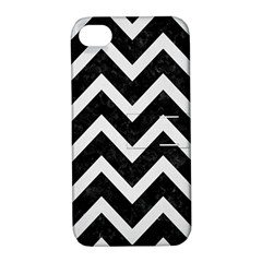 Chevron9 Black Marble & White Linen (r) Apple Iphone 4/4s Hardshell Case With Stand