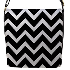 Chevron9 Black Marble & White Linen (r) Flap Messenger Bag (s)
