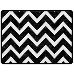 Chevron9 Black Marble & White Linen (r) Double Sided Fleece Blanket (large)