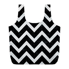 Chevron9 Black Marble & White Linen (r) Full Print Recycle Bags (l)