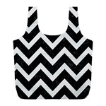 CHEVRON9 BLACK MARBLE & WHITE LINEN (R) Full Print Recycle Bags (L)  Front