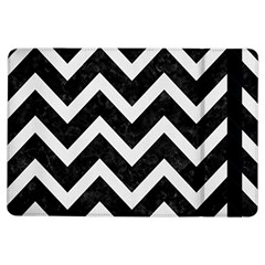 Chevron9 Black Marble & White Linen (r) Ipad Air Flip