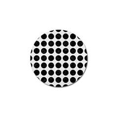 Circles1 Black Marble & White Linen Golf Ball Marker (4 Pack)