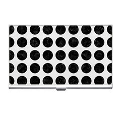 Circles1 Black Marble & White Linen Business Card Holders