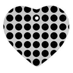 Circles1 Black Marble & White Linen Heart Ornament (two Sides)