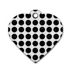 Circles1 Black Marble & White Linen Dog Tag Heart (one Side)