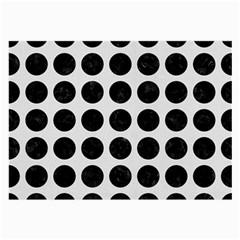 Circles1 Black Marble & White Linen Large Glasses Cloth (2 Side)