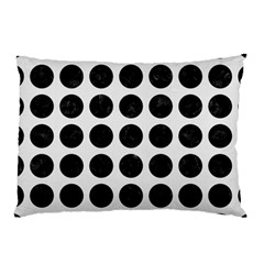 Circles1 Black Marble & White Linen Pillow Case