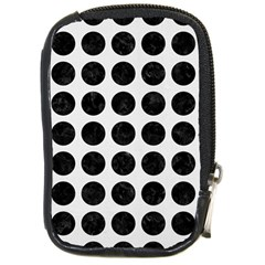 Circles1 Black Marble & White Linen Compact Camera Cases