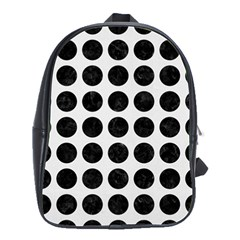 Circles1 Black Marble & White Linen School Bag (large)