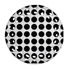Circles1 Black Marble & White Linen Round Filigree Ornament (two Sides)
