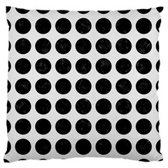 Circles1 Black Marble & White Linen Large Flano Cushion Case (one Side)