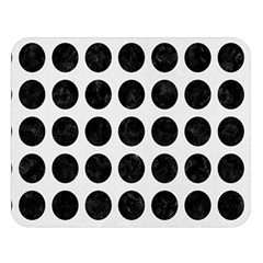 Circles1 Black Marble & White Linen Double Sided Flano Blanket (large)