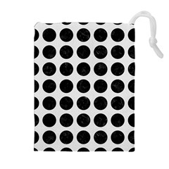 Circles1 Black Marble & White Linen Drawstring Pouches (extra Large)