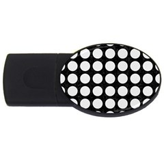 Circles1 Black Marble & White Linen (r) Usb Flash Drive Oval (4 Gb)
