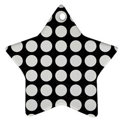 Circles1 Black Marble & White Linen (r) Star Ornament (two Sides)