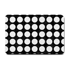 Circles1 Black Marble & White Linen (r) Small Doormat