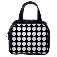 Circles1 Black Marble & White Linen (r) Classic Handbags (one Side)