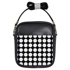 Circles1 Black Marble & White Linen (r) Girls Sling Bags