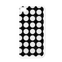 Circles1 Black Marble & White Linen (r) Apple Iphone 4 Case (white)