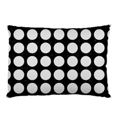 Circles1 Black Marble & White Linen (r) Pillow Case (two Sides)