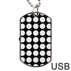 Circles1 Black Marble & White Linen (r) Dog Tag Usb Flash (one Side)