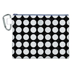 Circles1 Black Marble & White Linen (r) Canvas Cosmetic Bag (xxl)