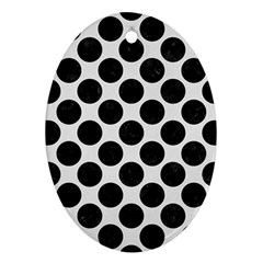 Circles2 Black Marble & White Linen Ornament (oval)