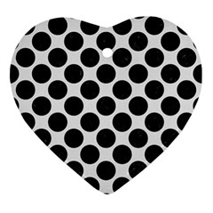 Circles2 Black Marble & White Linen Ornament (heart)